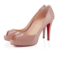 * 80mm Christian Louboutin Mater Claude Peep Toe Pumps in Nude EMV