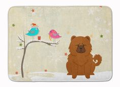 Christmas Presents between Friends Chow Chow Red Machine Washable Memory Foam Mat BB2614RUG