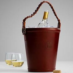 leather wine bucket from RedEnvelope.com $129