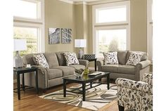Living room design featuring Gusti sofa, loveseat, accent chair, and tables. View 3
