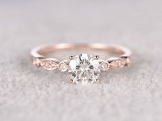 brillante Moissanite Verlobungsring Rose gold, Moissanite Hochzeitsband, 14k…