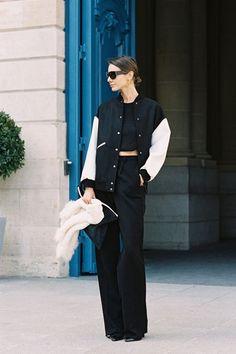 baseball jacket + classy black
