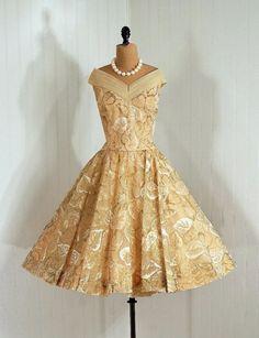 ~Party Dress: 1950s, metallic falling leaves novelty-print semi-sheer nylon chiffon, off-shoulder bodice~