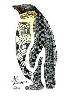 Zentangle art.  I used a penguin stencil and colored pencils to enhance the Zentangle patterns.
