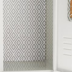 Preppy Diamond Grey Locker Wallpaper, 3 Sheets