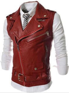 Spring Fall Fashion Stylish Mens Cool Red White Black Zipper Sleeveless PU  Leather Vest Jacket Male Plus Size Rock Unique Vests