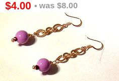 #Purple #Acrylic #Round #Bead Dangle #Earrings with Matte Gold #Chain on 14ct Gold Filled Earwires, accented with purple #faceted crystal rondells.Earrings measure 2 inches from e... #handmade #ooak #purple #acrylic #round #bead #earrings #chain #crystals #rondells
