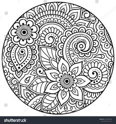 Outline Round Floral Pattern Coloring Book Stock Vector (Royalty Free) 1258353604 - Мандалы - Outline round floral pattern for coloring book page. Antistress for adults and children. Free Adult Coloring Pages, Mandala Coloring Pages, Coloring Book Pages, Pattern Coloring Pages, Doodle Coloring, Mandala Doodle, Mandala Drawing, Doodle Art, Dibujos Zentangle Art