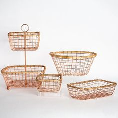 Handcrafted with copper wire and a cane frame, these charming baskets are great for holding fruit or serving bread. Create a lovely table setting with a variety of sizes. Information Details: copper wire cane frame