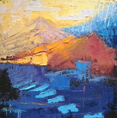 "Daily Painters Abstract Gallery: Abstract Landscape, Daily Painting, ""Peaks"" by Carol Schiff, 8x8x1.5"" Oil"