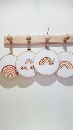Nursery rainbow decor - Rainbow modern embroidery - Rainbow print art - Rainbow illustration - Rainbow painting - Rainbow wall art - Hand embroidered rainbows This hoop art is perfect for home decor or decoration for a photo shooting. Wooden Embroidery Hoops, Embroidery Hoop Art, Cross Stitch Embroidery, Embroidery Patterns, Embroidery Jewelry, Embroidery Hoop Nursery, Learn Embroidery, Embroidery Fashion, Broderie Simple