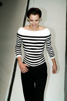 Ines de la Fressange in Gaultier stripes (2002)