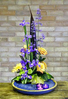 DESIGN 166 - stylized iris rose floral arrangement