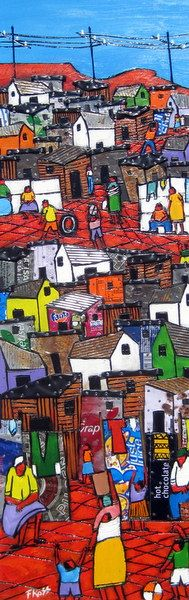Frank Ross - Cape Township, South Africa BelAfrique your personal travel planner… African Paintings, South African Artists, Africa Art, Building Art, African American Art, Naive Art, Tribal Art, Folk Art, Deco