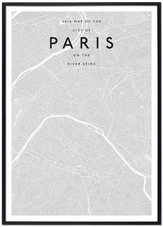 modern paris map simplified monochromatic monotone minimalist contemporary architecture interior designers cities custom solution print office home work space