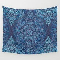 Wall Tapestry featuring Aqua, Cobalt Blue & Purple Protea Doodle… by Micklyn