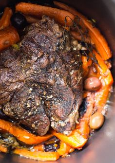 Slow Cooker Braised Beef Roast with Olives & Carrot Mash ~ AIP, Paleo - delicious one pot meal