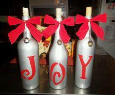 christmas wine bottle decorations | Wine bottles used as festive holiday decor. | Decorating
