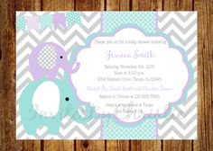 Teal, Purple and Gray Elephant Baby Shower Invitation- Digital File- DIY Printable - Elephant Baby Shower Invitation, Chevron Invitation by InvitesByChristie on Etsy