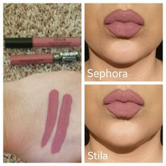 DUPE ALERT Comparison of Sephora Cream Lip Stain in Marvelous Mauve to Stilacosmetics Stay All Day liquid lipstick in Patina. Swatched on left is Marvelous Mauve and the right is Patina. Sephora is $13 & Stila is $24