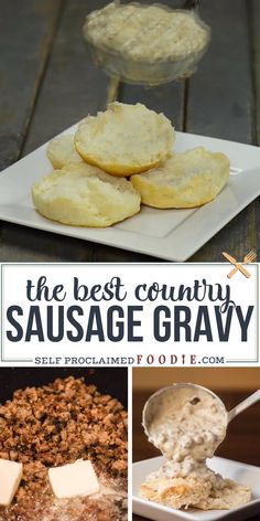 Country Sausage Gravy recipe made from scratch is delicious! The best biscuits and gravy are made from homemade flaky buttermilk biscuits and pork sausage homemade gravy. This is such an easy and flavorful breakfast recipe. Turns out perfect every time! Sausage Gravy And Biscuits, Buttermilk Biscuits, Recipe For Sausage Gravy, Sausage Gravy Recipe Pioneer Woman, Homemade Country Gravy Recipe, Biscuit And Gravy, Homemade Biscuits And Gravy, Southern Biscuits And Gravy, White Gravy Recipe