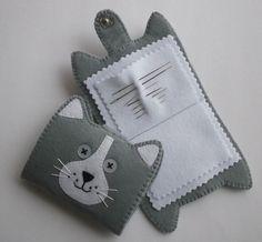 Handmade  Felt Cat Needle book/Case by CraftyCatLadyUK on Etsy