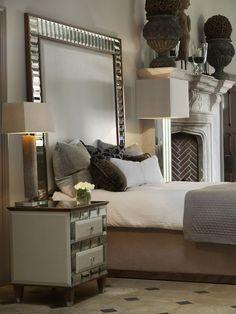 Luxury Interiors, Designer Tiffany Mirrored Bed Head Board. furniture. mirrors. fireplace. fireplace design. floor.