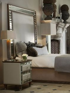 Luxury Interiors, Designer Tiffany Mirrored Bed Head Board. furniture. mirrors. fireplace. fireplace design. floor.