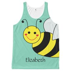 Cute Bumble Bee Personalized All-Over Print Tank Top Tank Tops