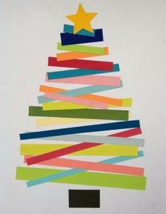 Christmas tree made from strips of paper