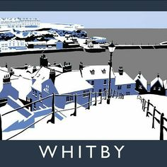Whitby, North Yorkshire, 'vintage' style travel print by Chequered Chicken. Exclusive digital art prints, hand drawn on an Apple iPad. The series is inspired by vintage railway posters and the work of artists such as Brian Cook and Norman Wilkinson. Posters Uk, Train Posters, Railway Posters, Vintage Travel Posters, British Travel, New Travel, Gravure Illustration, Graphic Illustration, Tourism Poster