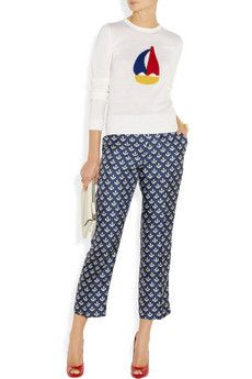 Gertrudi anchor-print silk-twill pants