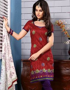 #DressMaterials - Red & Purple Embroidered Dress Material Costs Rs. 1,410. #Apparels. BUY it here: http://www.artisangilt.com/apparels-bags/women-apparels/dress-materials/red-purple-embroidered-dress-material.html?ref=pin