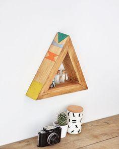 wooden triangle - home decor - geometric - pattern - Annie Sloan chalk paint @redesignbyagnieszka