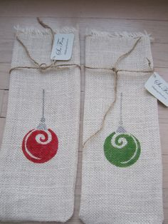 White burlap wine bag with hand stenciled ornaments by sewfancy1, $8.00
