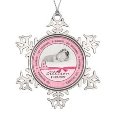 New Parents Baby Girl's Monogram A Snowflake Pewter Christmas Ornament