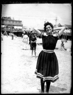 Female bather enjoying her day at a beach in Atlantic City around 1905. What a lovely photograph!
