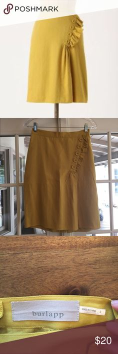 "Anthropologie skirt sz 2 EUC Anthropologie Burlapp Golden Rays skirt, size 2. Buttoned ruffle at hip. Back zip. Dry clean. 22""L. Cotton, nylon, linen, rayon; poly lining. So cute for work! 4th picture shows a spot (which is on both ends of waistband) where cleaners hung skirt with safety pins. Not that noticeable but wanted to call it out. Anthropologie Skirts Mini"