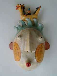 """'Mask with Dragon Boat"""" By Kim Murton Terra cotta with painted slip SOLD"""