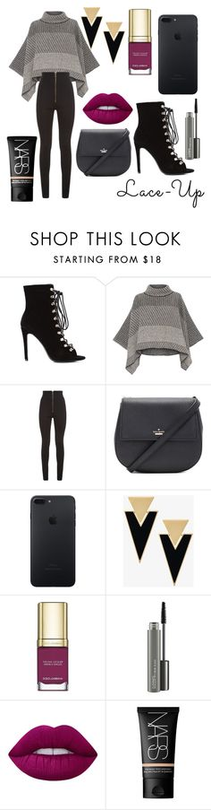 """""""Fall Fashion : Lace Up Booties"""" by laughlikecrazy ❤ liked on Polyvore featuring Piazza Sempione, Balmain, Kate Spade, Yves Saint Laurent, Dolce&Gabbana, MAC Cosmetics, Lime Crime, NARS Cosmetics and laceup"""