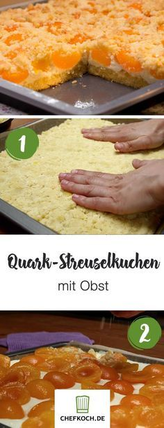 Schneller Quark-Streusel-Kuchen mit Obst Quick quark crumble cake with fruit Fruit Cake Loaf, German Bread, Cranberry Chutney, Coconut Macaroons, Vegetable Drinks, Beignets, Family Meals, Meal Planning, Cake Recipes
