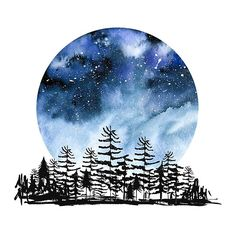 Frozen Sky Watercolor forest design against a night sky design.