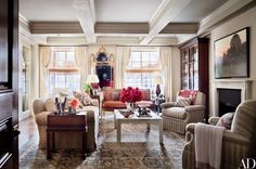 When actress and comedian Ali Wentworth and her husband, television journalist George Stephanopoulos, relocated from Washington, D.C., to New York City, they enlisted their friend Michael S. Smith to decorate their new apartment. The living room features a skirted sofa and armchairs, all by O. Henry House, upholstered in fabrics by Cowtan & Tout and Jasper, respectively; the Regency mirror and the mahogany bookcase were bought at auction, the settee is a Swedish antique, and the cocktail…