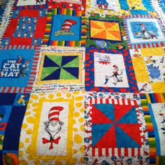Dr. Seuss quilt made by mom :)