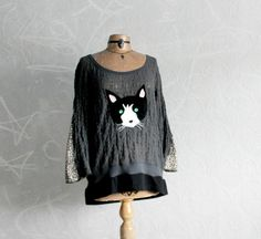 Grey Lace Bohemian Top Cat Face Applique by BrokenGhostClothing
