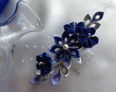 Items similar to Hair Comb - Royal Blue Cobalt Blue Silver and White Kanzashi Flowers with Pearls - Wedding Flowers Bridal Headpieces on Etsy Ribbon Art, Ribbon Crafts, Bridal Headpieces, Bridal Hair, Azul Real, Blue And Silver, Dark Blue, Light Blue, Blue Wedding Flowers