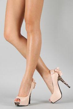 Leopard Bow Peep Toe Platform Stiletto Heel Pump Nude