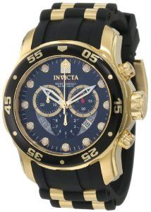 Invicta Mens Pro Diver Collection Chronograph Black Dial Black Polyurethane Watch | Luxury Watches.WS