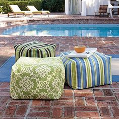 These Beanbag Ottomans From The Company Store Are Made To Weather the Elements But I'd Love Them Inside!