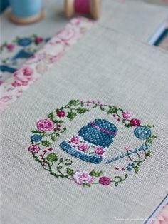 Thimble frame cross stitch (also sewing machine frame). Cross Stitch Needles, Cross Stitch Samplers, Cross Stitching, Cross Stitch Embroidery, Embroidery Patterns, Hand Embroidery, Cross Stitch Designs, Cross Stitch Patterns, Crochet Cross